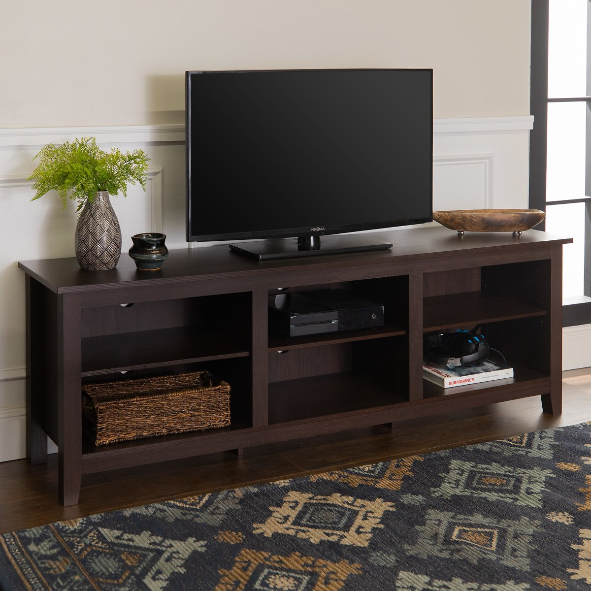 Manor Park Wood TV Media Storage Stand for TVs Up to 78
