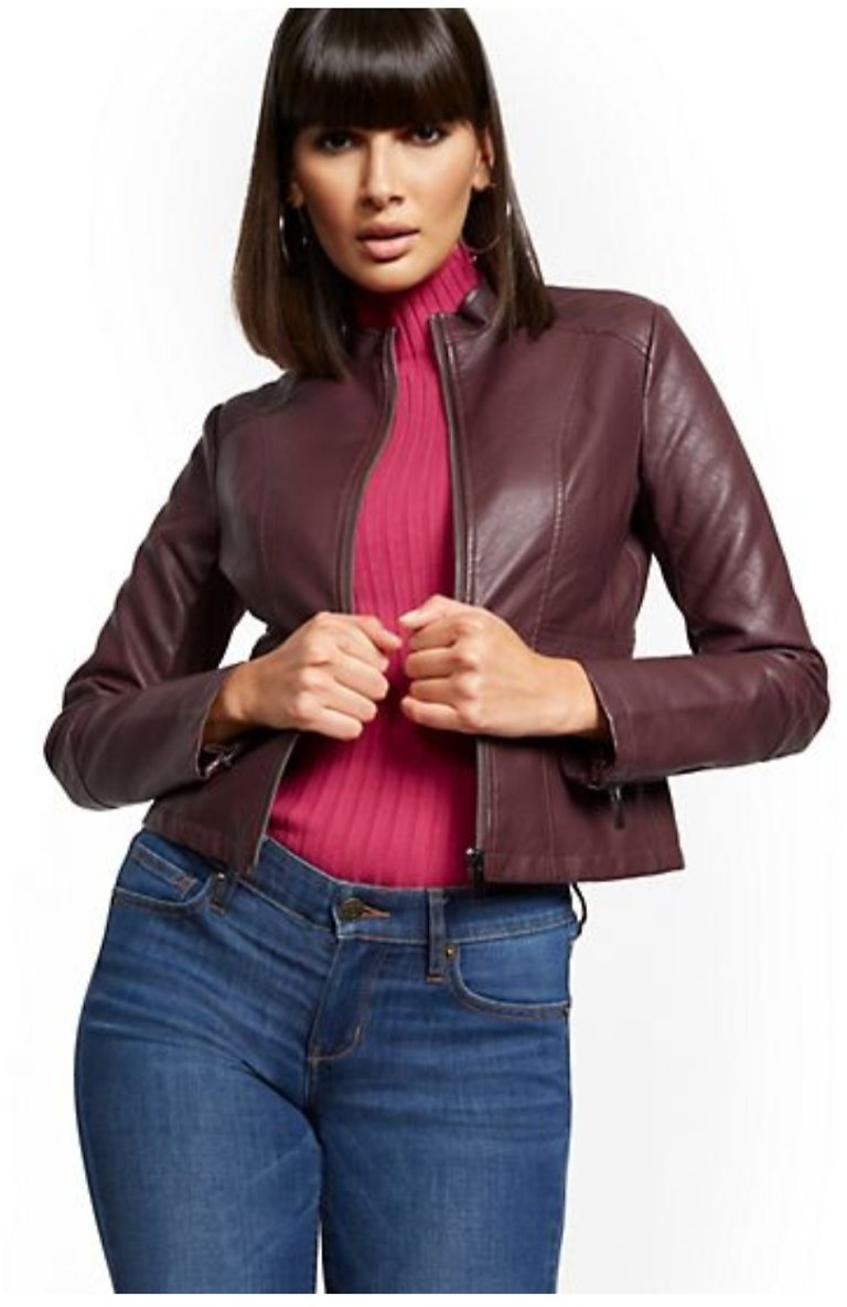 Quilted Faux-Leather Jacket