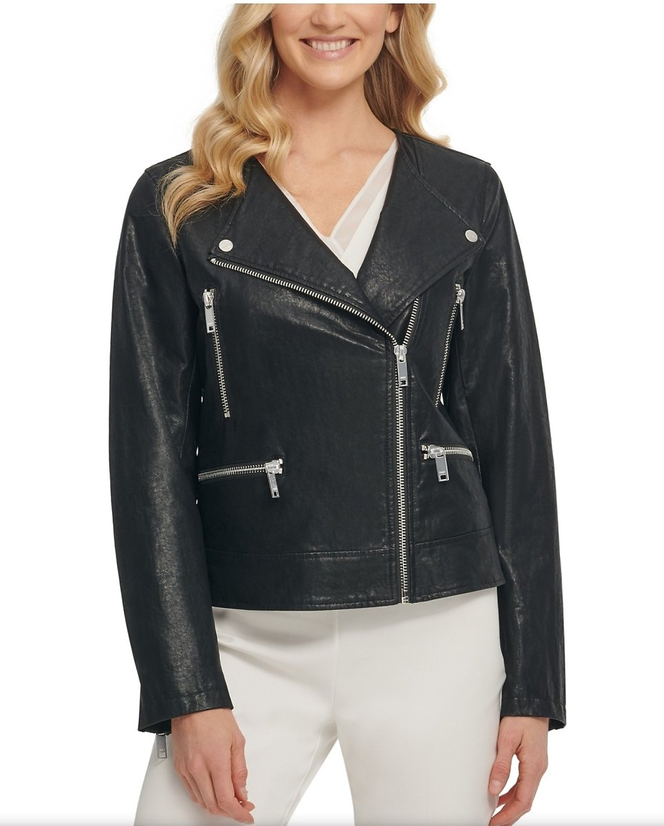 DKNY Faux-Leather Moto Jacket (2 Colors)