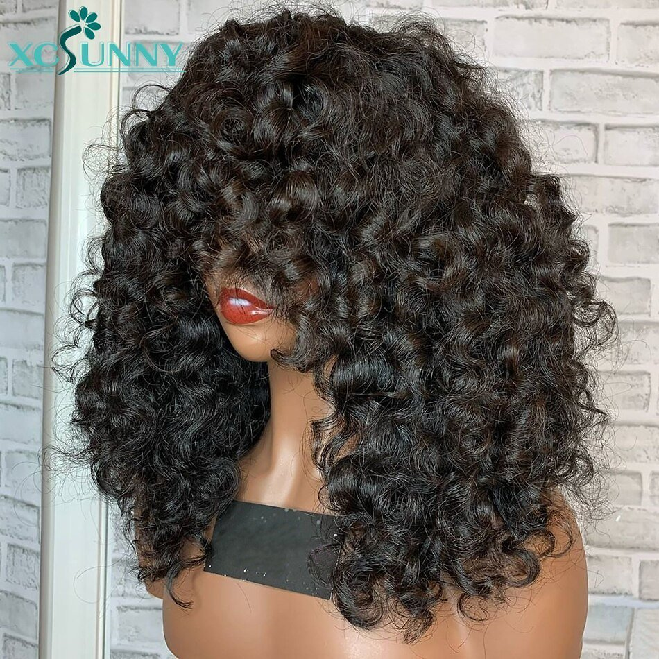 200 Density Short Curly Human Hair Wigs With Bangs Scalp Top Full Machine Made Wig Remy Brazilian Jerry Curl Wig