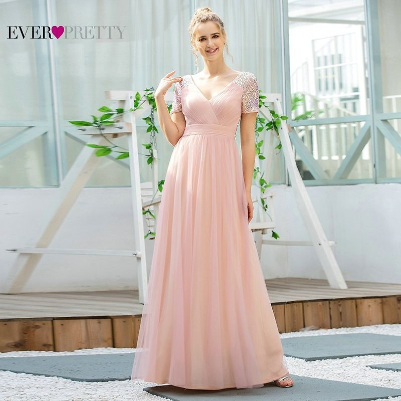 Pink Prom Dress Long Ever Pretty EP00512PK Elegant A Line V Neck Short Sleeve Sequined Tulle Formal Party Gowns For Wedding 2020
