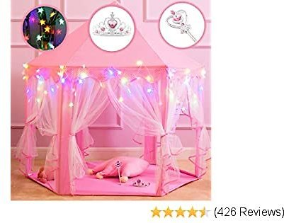 Princess Castle Play Tents for Girls, Kids Play Tent with Star Lights, Bonus Princess Tiara and Wand, Large Size 55
