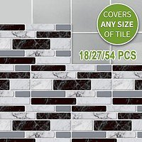 Self-adhesive 3D Tile Wallpapers Black and White Marble Tile Pattern Waterproof Wall Stickers Home Decoration 18/27/54pcs | Wish
