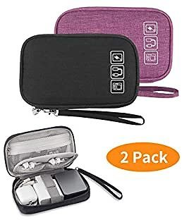 2PCS Electronic Organizer, Small Travel Cable Organizer Bag Portable Electronic Accessories Storage Bag for Cable, Cord, Charger, Hard Drive, Earphone, USB,SD Card, with 4 Cable Ties (Black+Violet)