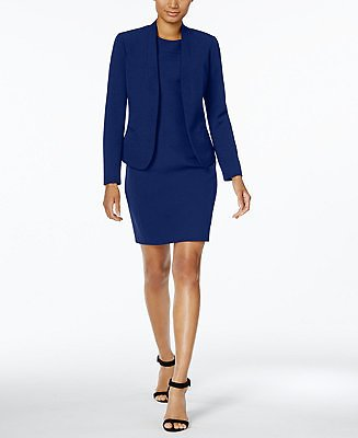 Anne Klein Executive Collection Shawl-Collar Sleeveless Sheath Dress Suit, Created for Macy's & Reviews - Wear to Work - Women