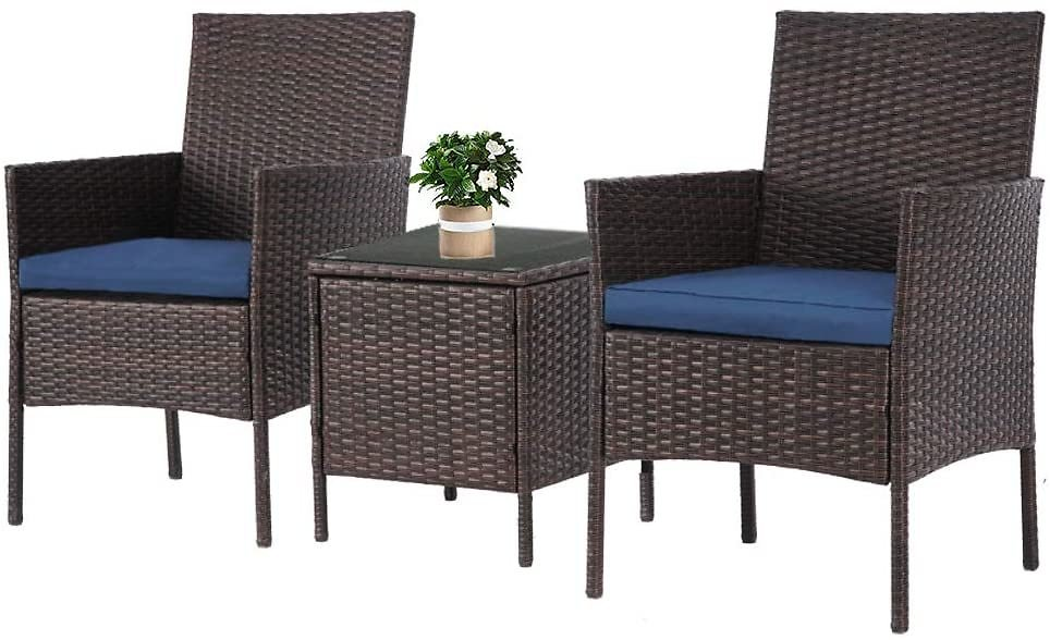 Lahaina Patio Furniture Set 3 Piece Outdoor Wicker Bistro Set Rattan Chair Conversation Sets with Coffee Table