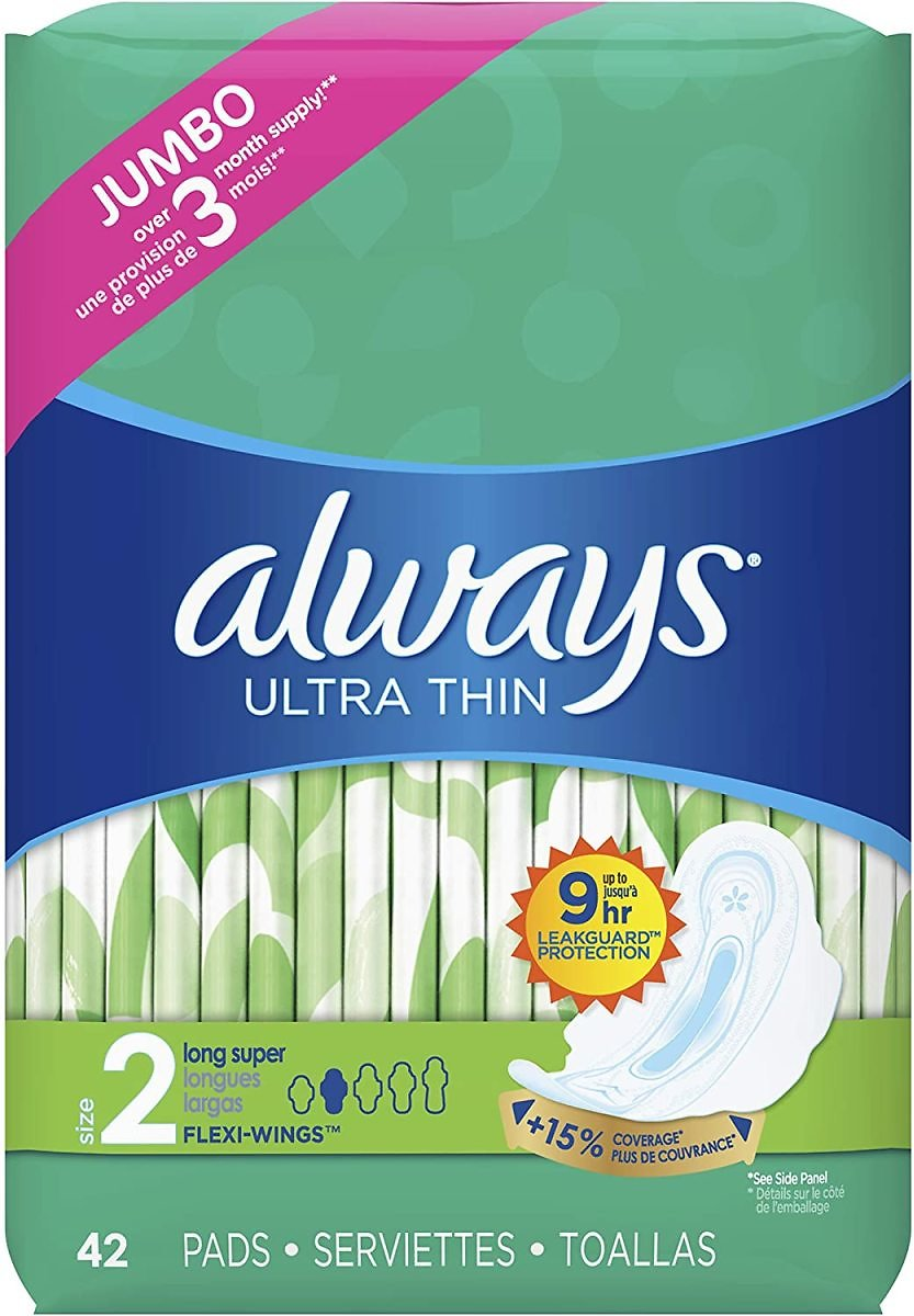 Always Ultra Thin Feminine Pads with Wings for Women, Size 2, 126 Count,  Unscented (42 Count, Pack of 3 - 126 Count Total)