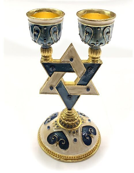 Star of David Small Crystal Candlestick