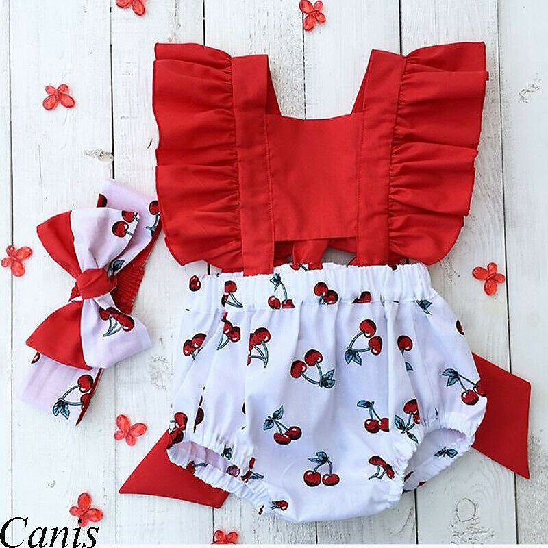 2Pcs Newborn Baby Girl Clothes Ruffle Backless Cherry Romper + Headband Outfit Baby Girl Summer Clothes