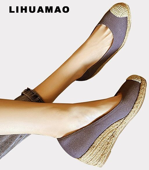LIHUAMAO 2020 New Women Pumps Wedge Shoes for Women Platform High Heels Espadrilles Shoes Causal Office Lady Party Wedding