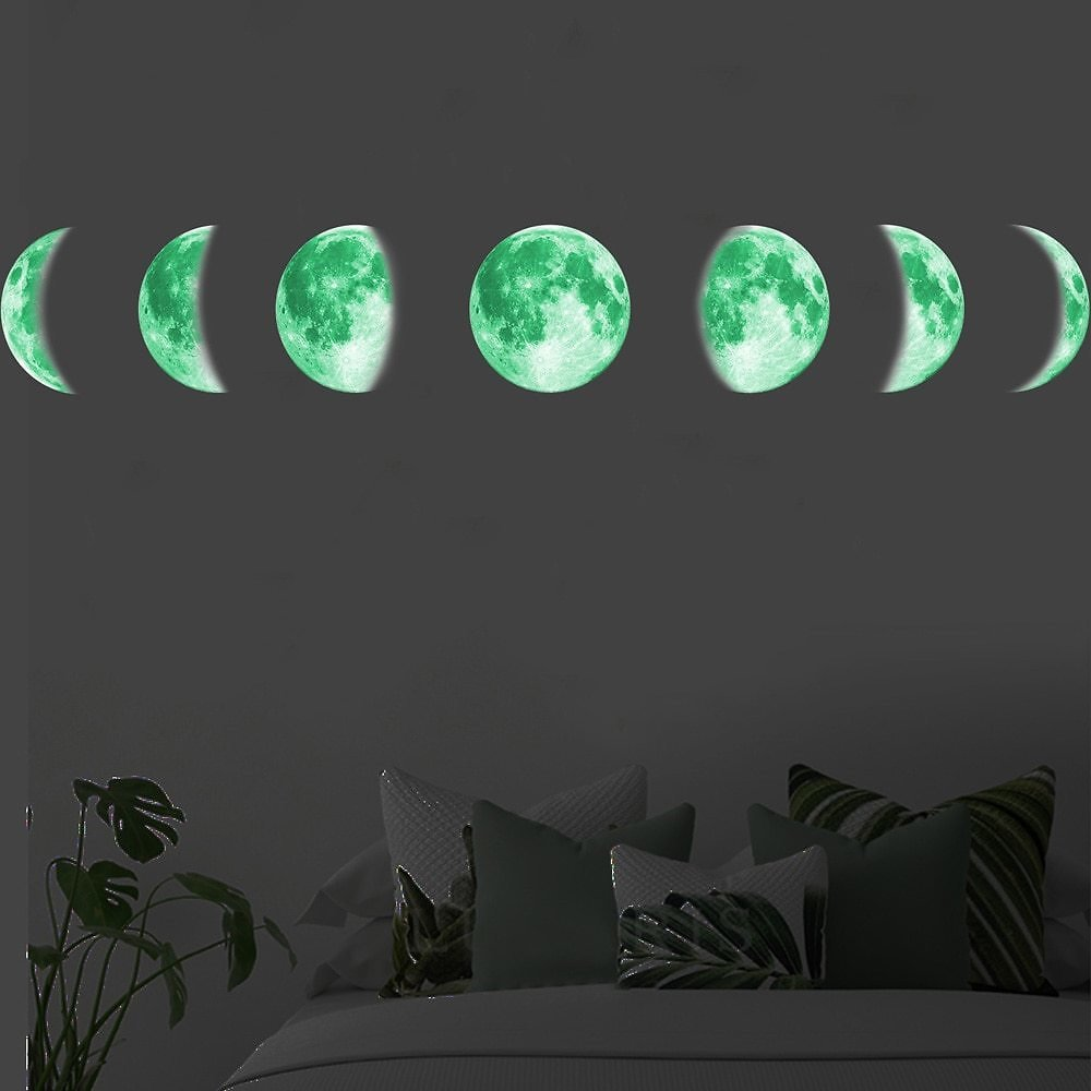 30cm Moon Phase 3D Luminous Wall Sticker Living Room Decoration Glow in The Dark Mural Bedroom Art Decals Moon Eclipse Stickers