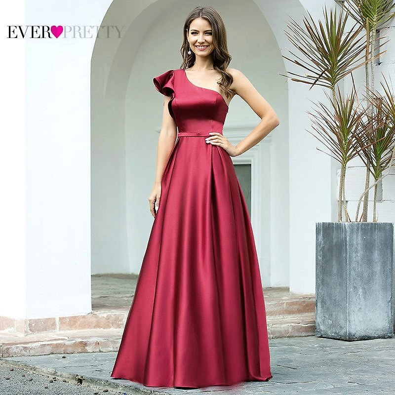 US $30.39 24% OFF Burgundy Prom Dress Ever Pretty EP00649BD Elegant Princess A Line One Shoulder Ruffles Long Satin Formal Party Gowns Robe Femme Prom Dresses  - AliExpress