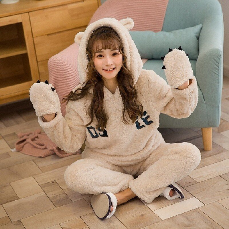 US $35.0 30% OFF|M XXL 40 77.5KG Autumn and Winter Suit Cute Home Clothes Thick Warmth Sweet Soft Comfortable Plush Hooded Two Piece Suit E50|Pajama Sets| - AliExpress