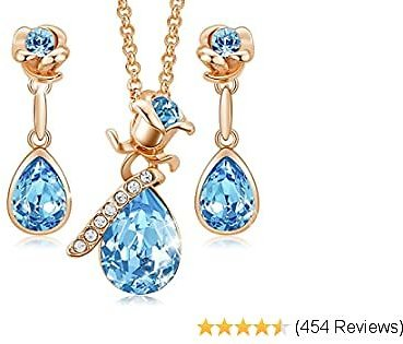 CDE Rose Flower Jewelry Set for Women Hypoallergenic 18K Rose Gold/White Gold Plated Ladies Necklace Embellished with Crystals from Austria Jewel Gifts for Mom