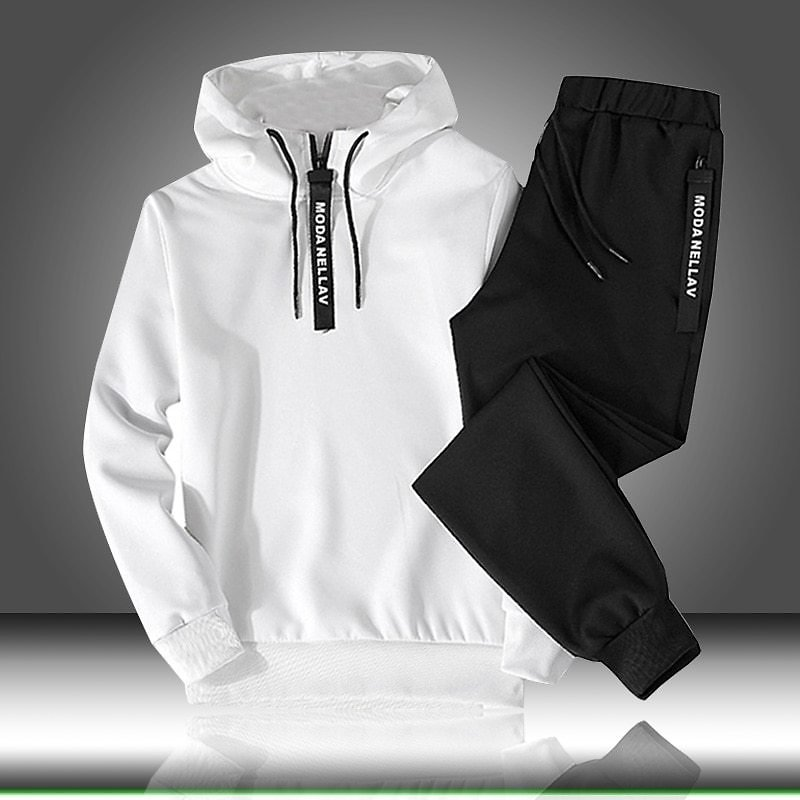 Male Suit Pullover Two Piece Set Casual Tracksuit Drawstring Outfit Sportswear Men Autumn Winter Hooded Sweatshirt