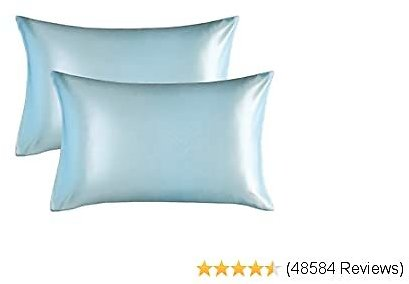Bedsure Satin Pillowcase for Hair and Skin, 2-Pack - Standard Size (20x26 Inches) Pillow Cases - Satin Pillow Covers with Envelope Closure, Light Blue