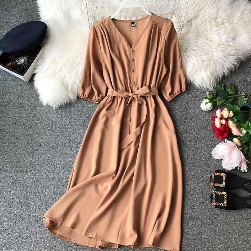 US $15.74 11% OFF|2020 Women Summer Dress V Neck Streetwear A Line Empire Beach Mid Calf Long Chiffon Dresses with Sashes Frocks for Women|Dresses| - AliExpress