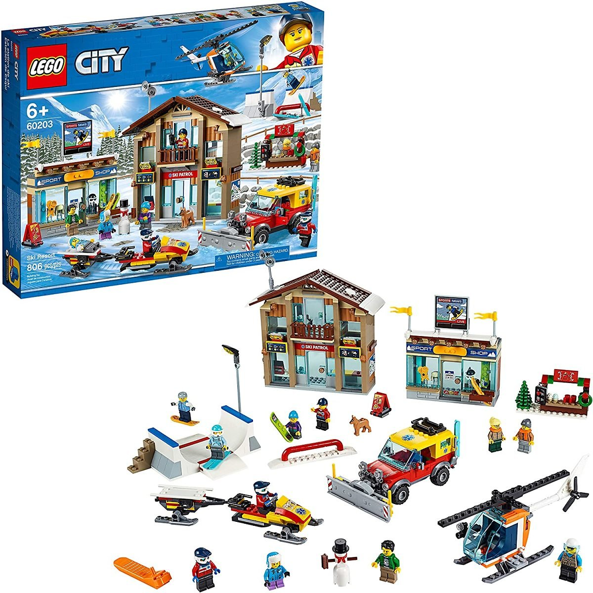LEGO City Ski Resort 60203 Building Kit Snow Toy for Kids (806 Pieces)