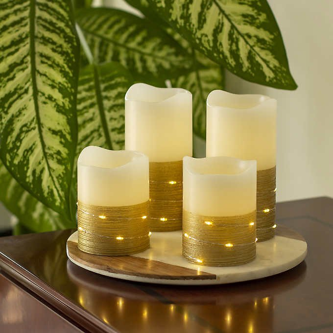 Sterno Home Flameless LED Wax Pillar Candles with Fairy Lights and Timer, 4-piece Set