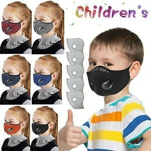 Kids Outdoor Face Mask Air Purifying Respirator Mask Washable Reusable +5 Filter