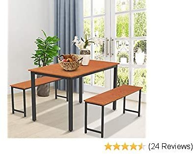 DKLGG 3 Pieces Dining Table Set, Modern Kitchen Table and 2 Bench with Metal Leg for Small Space Home (Coffee)