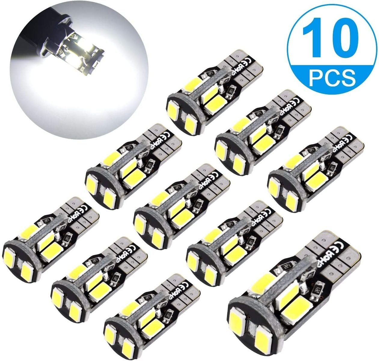 Super Bright 12V LED Light Bulbs, 5730 Chipset T10 Wedge W5W 168 194 2825 10-SMD Car Replacement Interior Lights for Dome Map Do