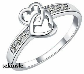 Pretty Cute Silver Platinum Plated Heart Austrian Crystal Lady Lover Ring S925