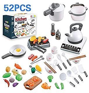 52PCS Kids Pretend Play Kitchen Toy Sets with sound and comes with appliances, cookware, utensils, and food