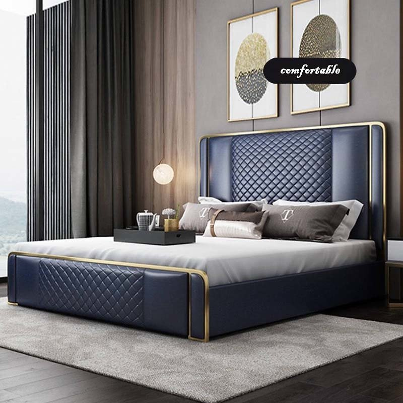 Light Luxury Bedroom Pine Bed Double Bed Modern Simple High Quality 1.8m Bed