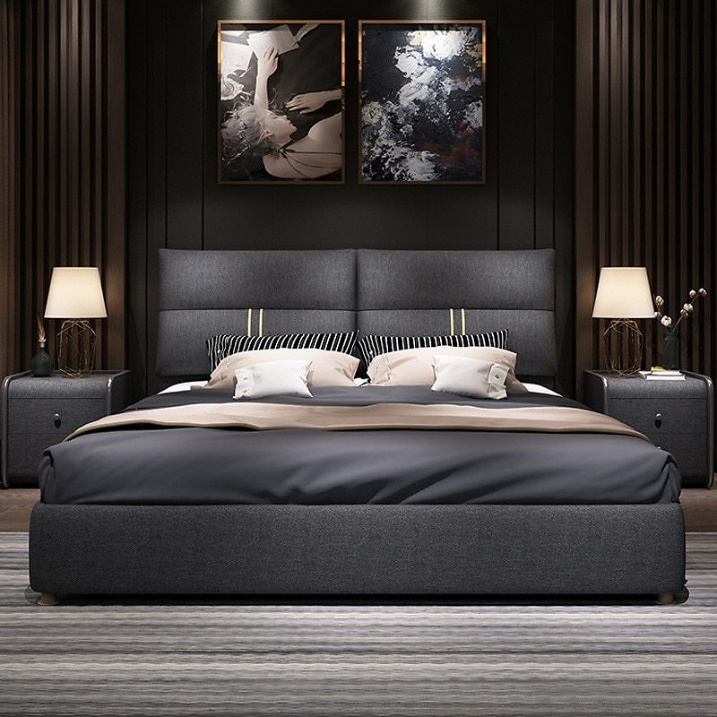 Tatami Fabric Bed Removable and Washable Simple Modern Bedroom