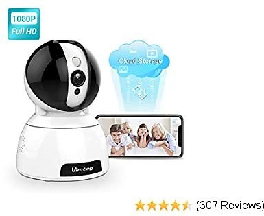 Wireless Security Camera Indoor-Vimtag Dome Surveillance IP Camera, 1080P HD WiFi Home Camera with Smart Motion Tracking, Night Vision, 2-Way Audio 360° Baby Monitor Pet Cam for Home Security- Alexa
