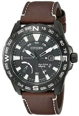 Citizen Men's Watch PRT Power Reserve Black Dial Brown Leather Strap AW7045-09E 13205121555