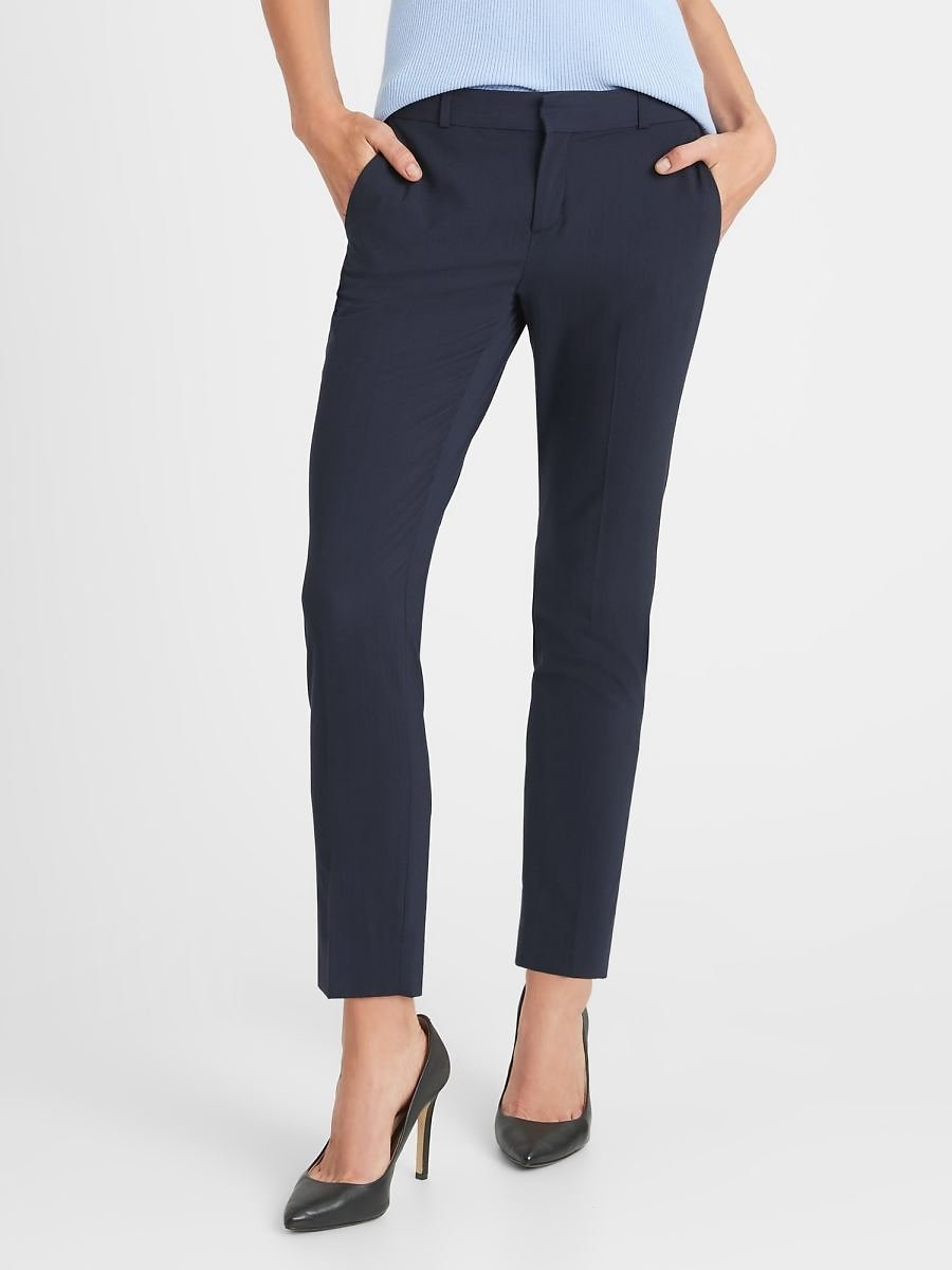 Avery Straight-Fit Washable Wool-Blend Ankle Pant | Banana Republic