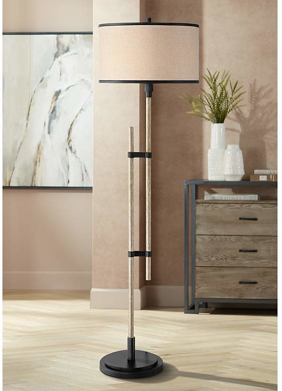 SAVE $ 100 in Possini Euro Andover Bronze and Faux Wood Rustic Floor Lamp