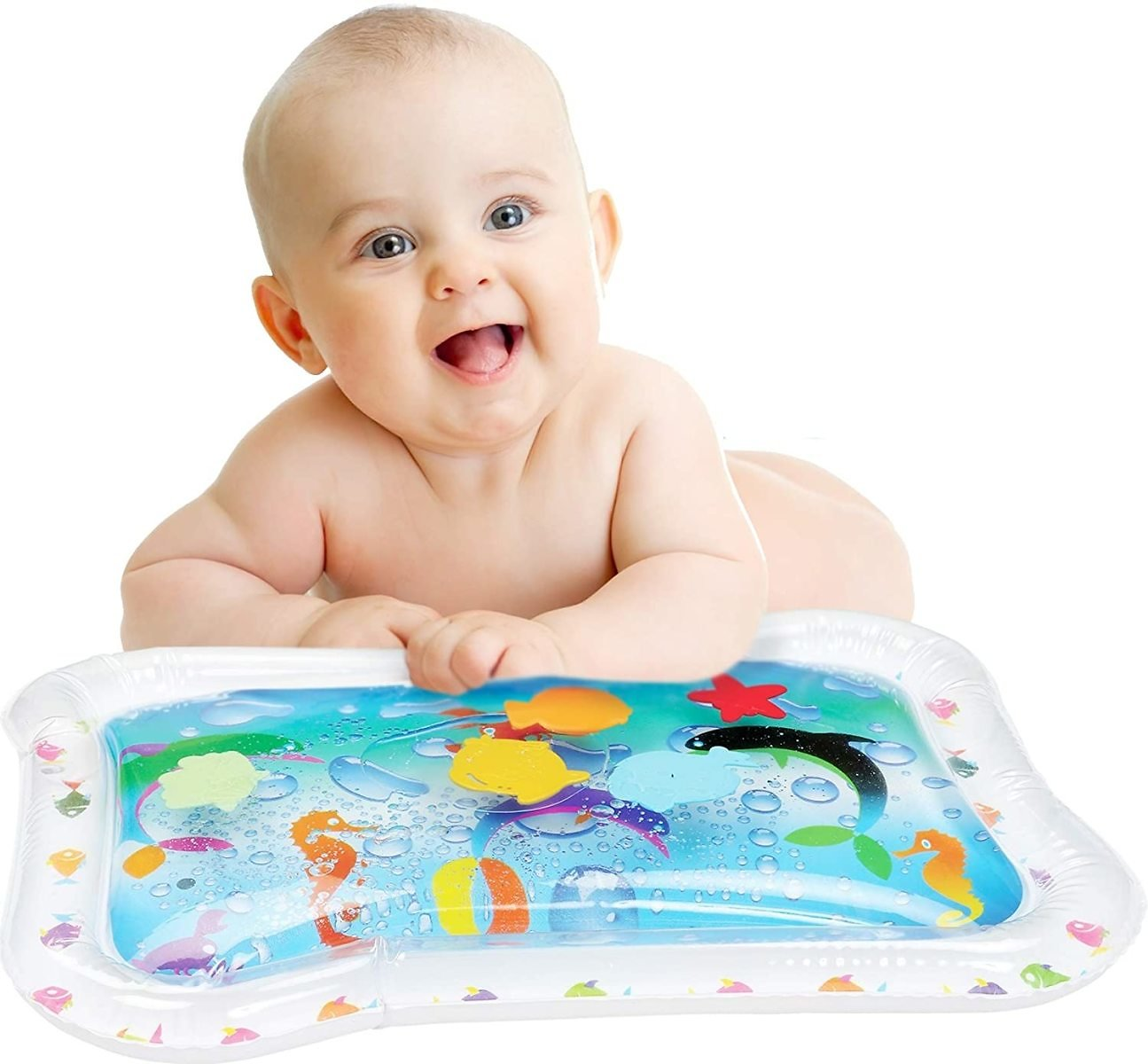 Bundaloo Tummy Time Water Play Mat, With Colorful Plastic Swimming Fish.