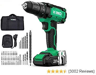 Cordless Drill Driver Kit - 20V Max Impact Drill Set W/Lithium-Ion Battery & Charger, 350 In-lb Torque, 3/8'' Keyless Chuck, 21+1+1 Clutch, Variable Speed, Built-in LED Drilling Wall Brick Wood Metal