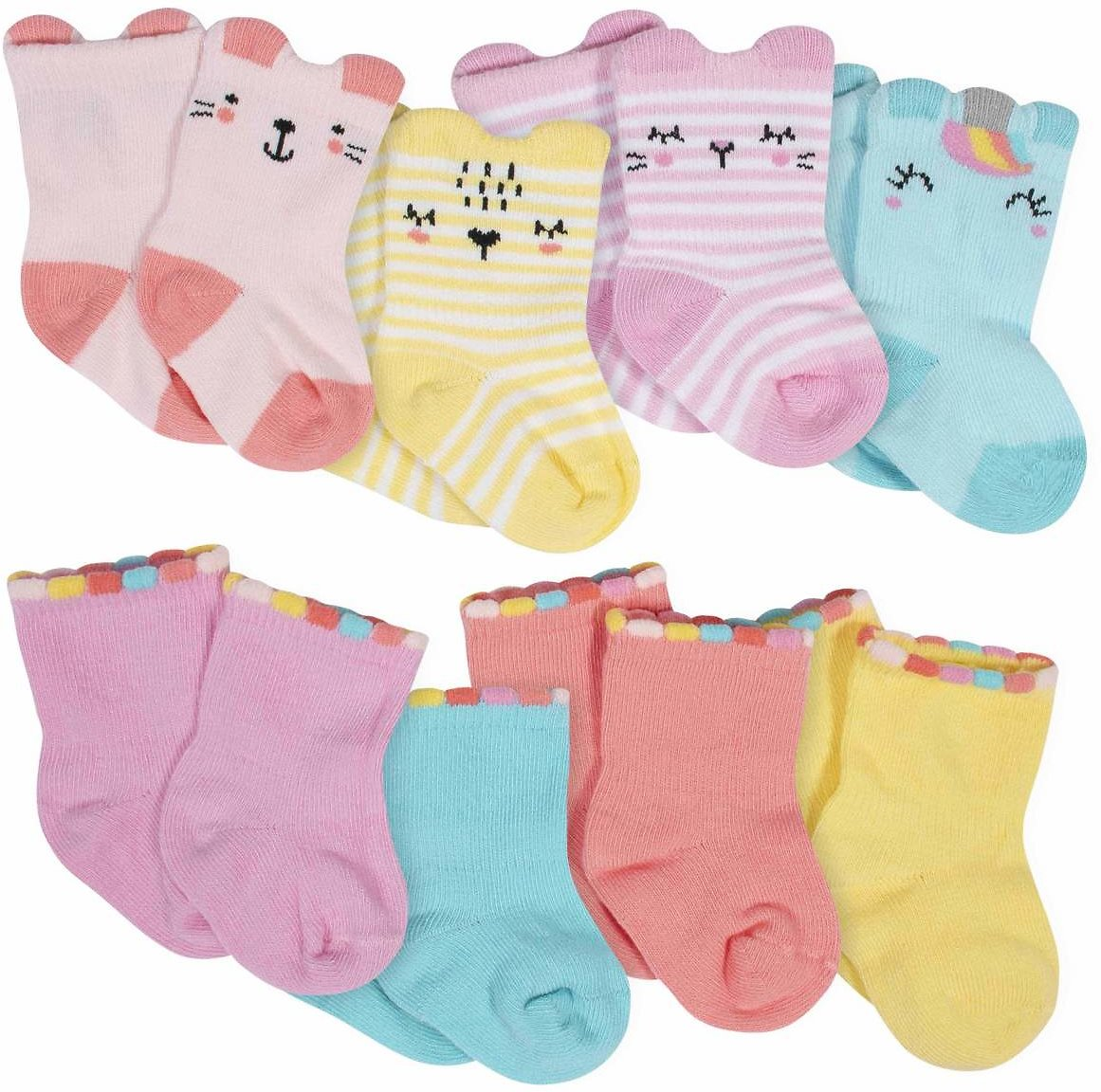 8-Pack Baby Girls' Unicorn Wiggle-Proof® Jersey Crew Socks
