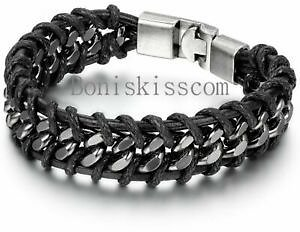 Leather Silver Stainless Steel Cuban Chain Men's Bracelet Bangle