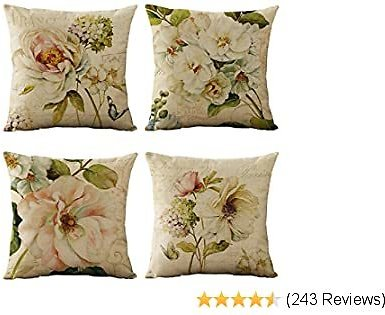 Set of 4 Vintage Spring Flower Decorative Throw Pillow Covers