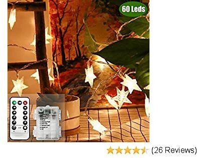 ZOUTOG Battery Operated String Lights, 23ft / 7m 60 LED Warm White Star String Lights, Decorative Timer Fairy Light for Christmas/Wedding/Party Indoor and Outdoor
