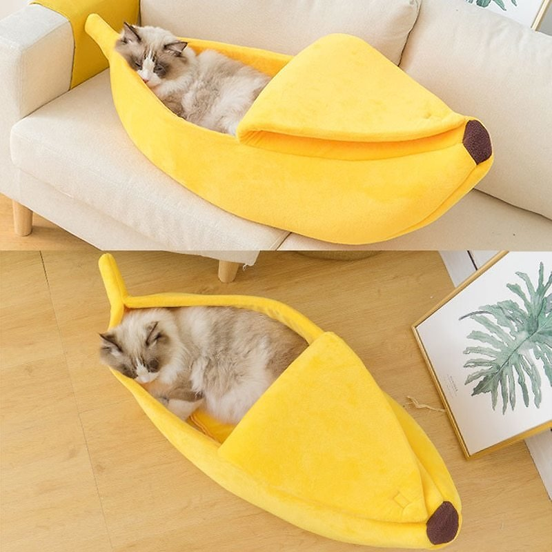 Funny Banana Cat Bed House Cute Cozy Cat Mat Beds Warm Durable Portable Pet Basket Kennel Dog Cushion Cat Supplies Multicolor