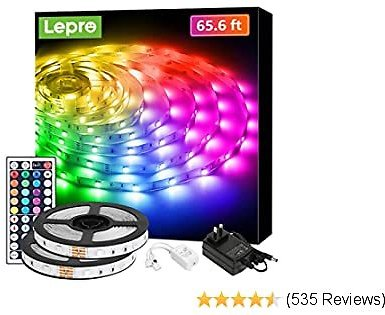 Lepro 65.6ft LED Strip Lights, Ultra-Long RGB 5050 LED Strips with Remote Controller and Fixing Clips, Color Changing Tape Light with 12V ETL Listed Adapter for Bedroom, Room, Kitchen, Bar