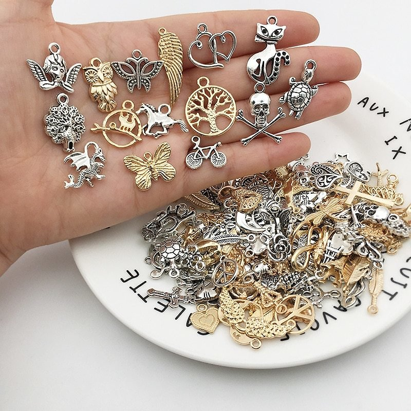 US $2.05  Vintage Mixed 20/40pcs Metal Animal Birds Charms Beads Handmade DIY Bracelet Pendant Neacklace Clips Jewelry Making Findings Jewelry Findings & Components  - AliExpress