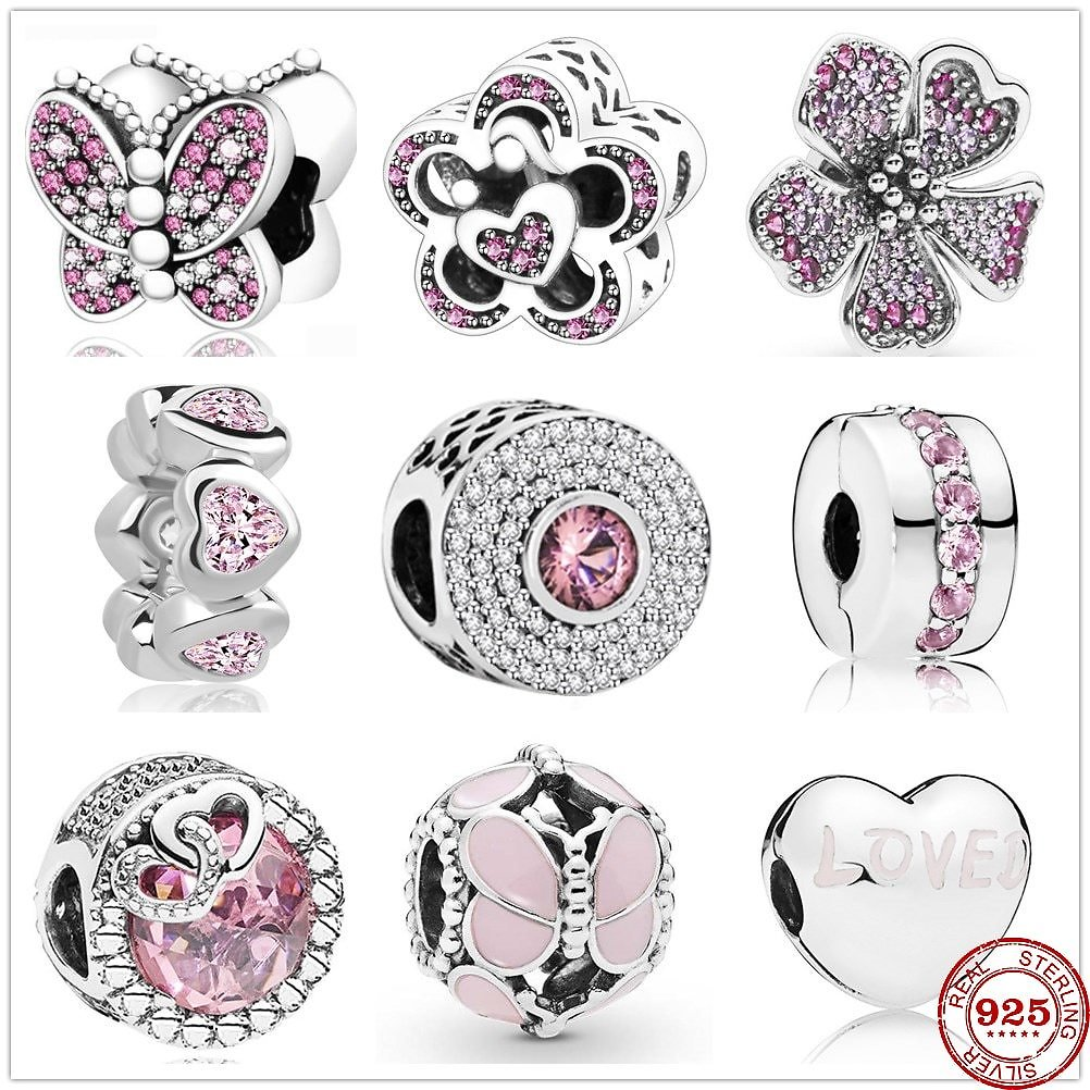 US $2.88 40% OFF|New 925 Sterling Silver Dazzling Pink Butterfly Heart Zirconia Beads Fit Original Charms Pandora Bracelet Bead Jewelry Making|Beads| - AliExpress