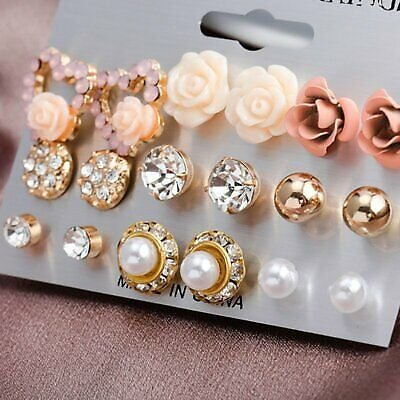 9 Pairs/Set Women Crystal Pearl Flower Ear Studs Earrings Elegant Jewelry Gift
