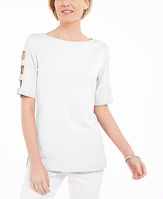 Cotton Cutout-Sleeves Top