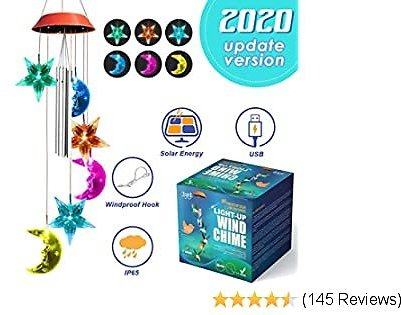 JOYXEON Wind Chimes Outdoor【2020 Updated Version¡】 Solar Moon Star Wind Chimes with 3 Tuned Tubes Color Changing LED Mobile USB & Solar Moon Star Lights with Anti-Fall Hook As Night Garden Decor