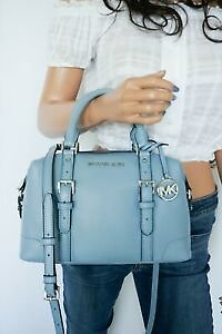Michael Kors Ginger Small Duffle Satchel Pebbled Leather Bag Powder Blue