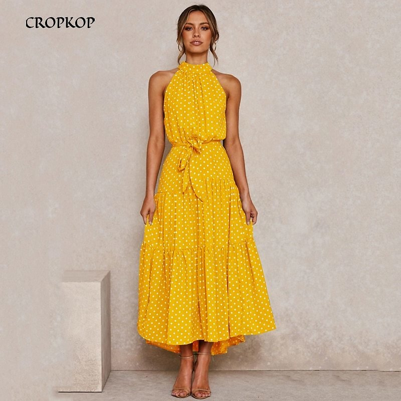 US $16.15 45% OFF|Summer Long Dress Polka Dot Casual Dresses Black Sexy Halter Strapless New 2020 Yellow Sundress Vacation Clothes For Women|Dresses| - AliExpress