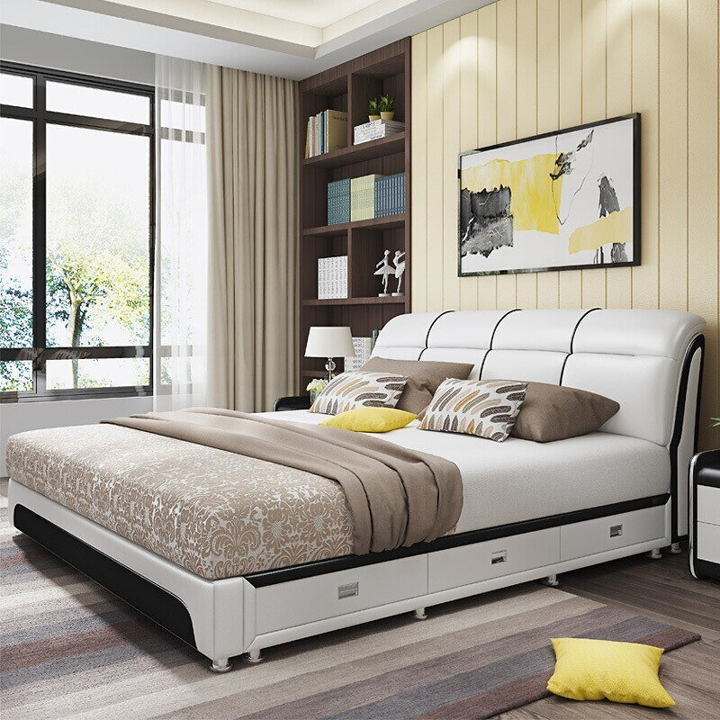 US $750.0  Leather Double Bed 1.8m Modern Simple Small Family Type 1.5 Tatami Mat Master Bedroom Pneumatic Storage Drawer Leather Bed Beds  - AliExpress